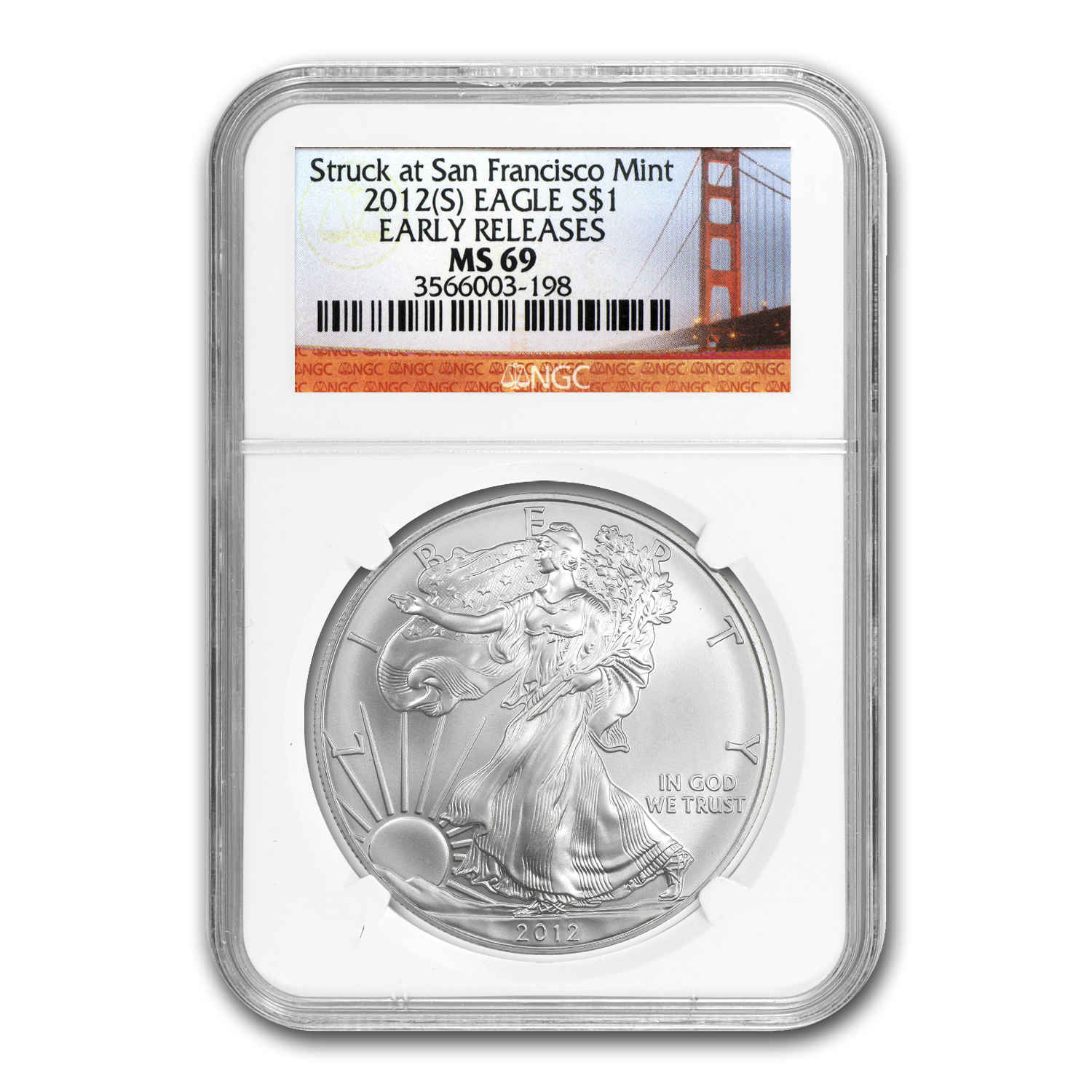 2012 (S) Silver Eagle MS-69 NGC (ER, Golden Gate Bridge)